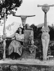 Dorothea Tanning and Max Ernst with his sculpture, Capricorn, Sedona, Arizona photography by John Kasnetsis, 1947