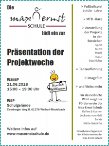 Einladung zur Präsentation der Projektwoche