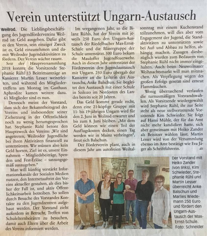 Verein unterstützt Ungarn-Austausch